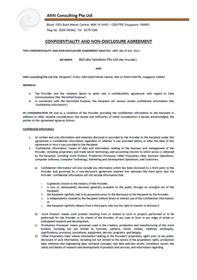 Non-disclosure agreement (NDA) page 1