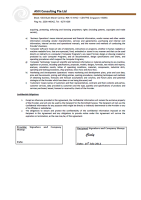 Non-disclosure agreement (NDA) page 2